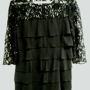 PETITE LITTLE BLACK RUFFLE AND LACE DRESS